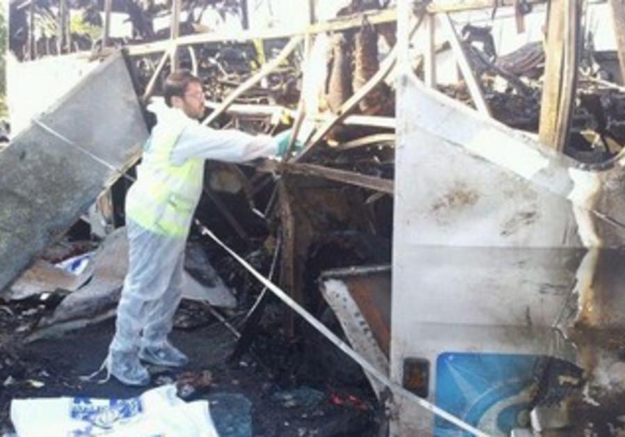 Zaka volunteer bus wreckage