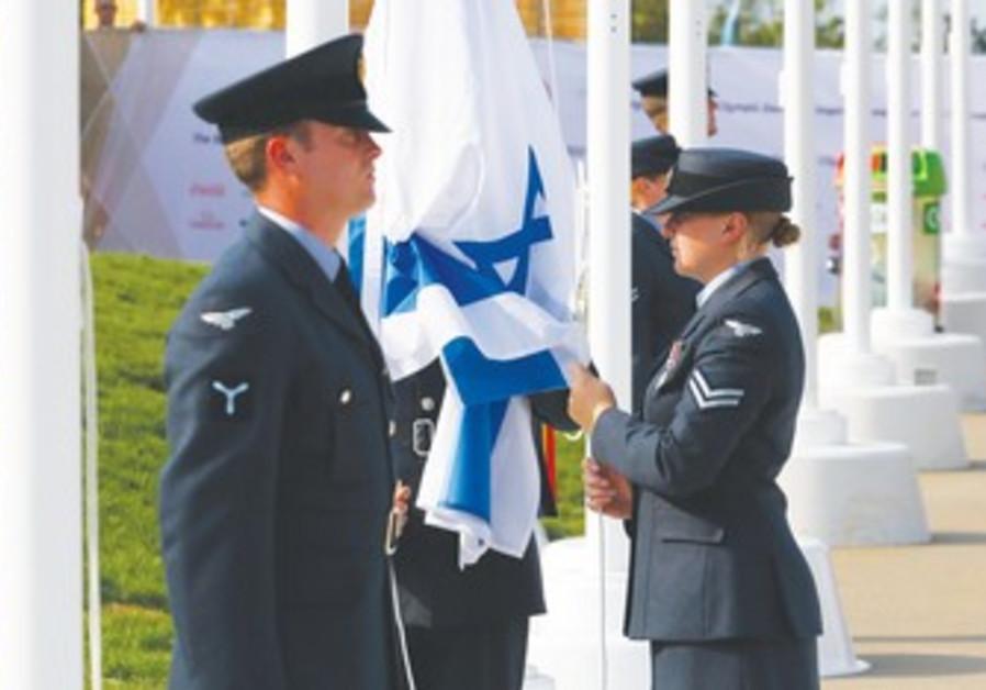 Israeli flag raised at London's Olympic Village.