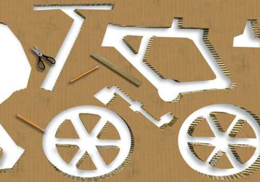 A cardboard bicycle