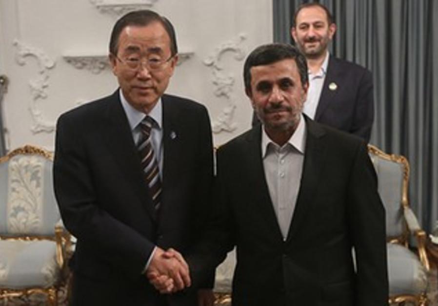 UN chief Ban and Iranian President Ahmadinejad