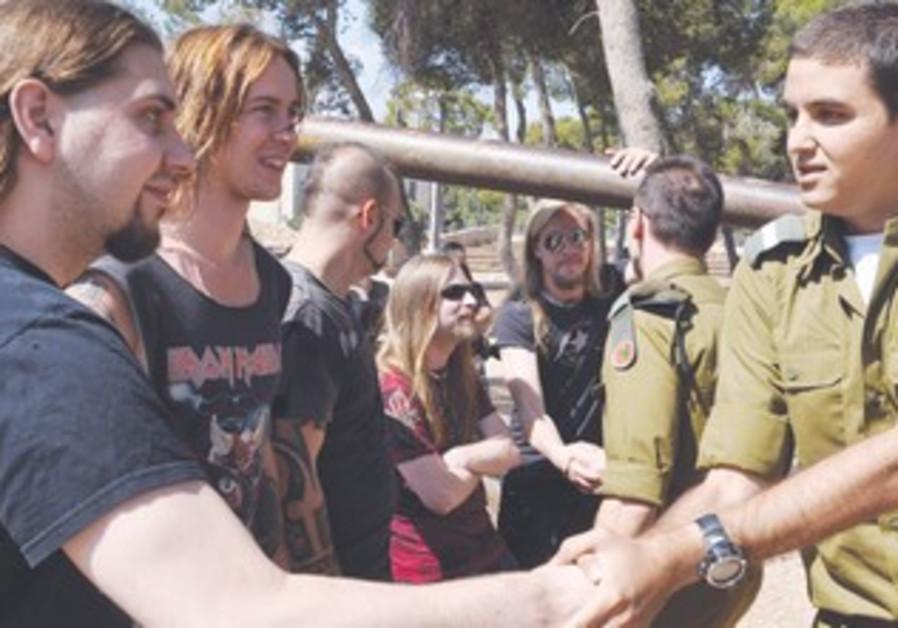 SABATON BAND members greet IDF at Ammunition Hill