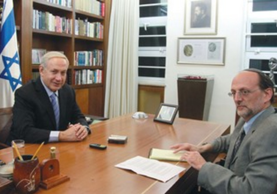 PM Netanyahu with  'Jerusalem Post''s Herb Keinon