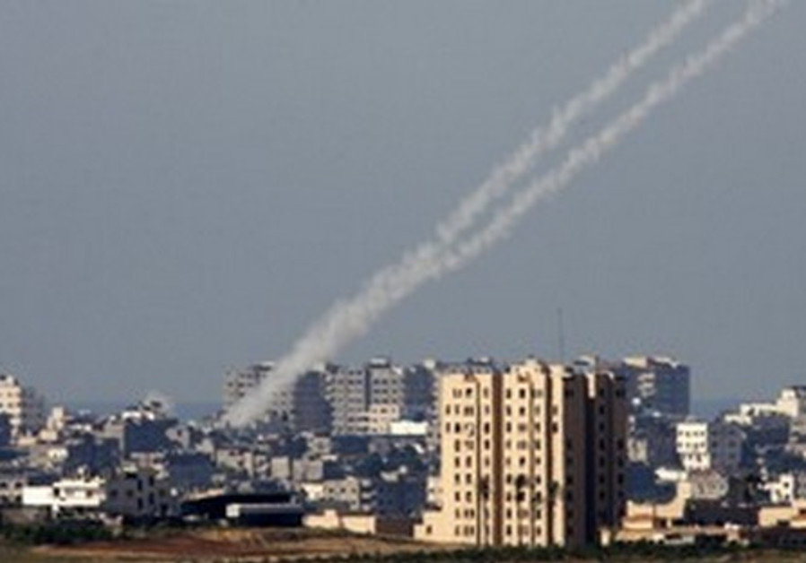 Kassam rockets being fired from the Gaza Strip