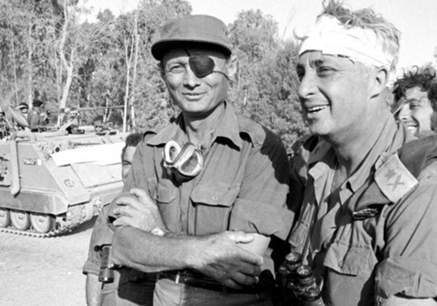 Moshe Dayan with Ariel Sharon