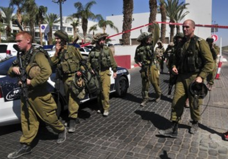 IDF soldiers guard the area near Eilat hotel.