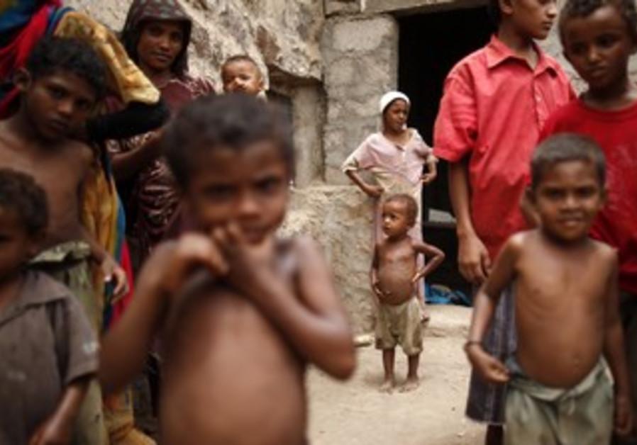 Children at Mawzaa village in Yemen