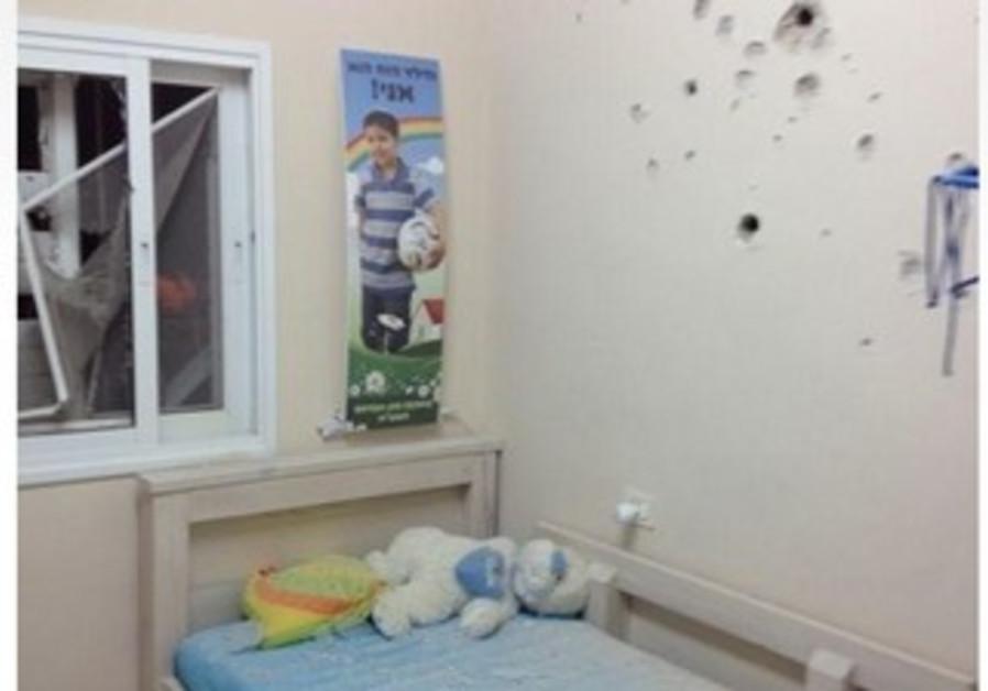 Bedroom damaged in Grad rocket attack