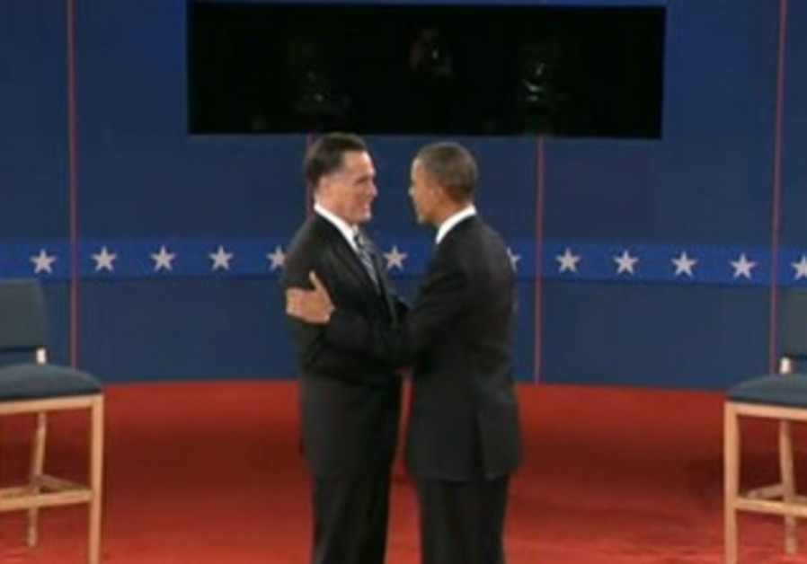Romney, Obama shake hands at town hall debate