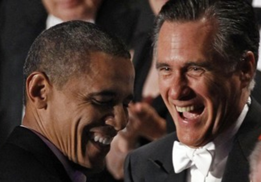 Obama and Romney laugh at charity dinner.