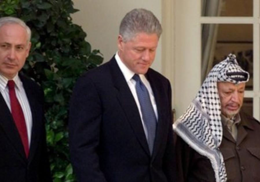 Binyamin Netanyahu, Bill Clinton and Yasser Arafat