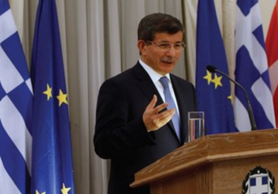 Turkish foreign minister Ahmet Davutoglu in Greece