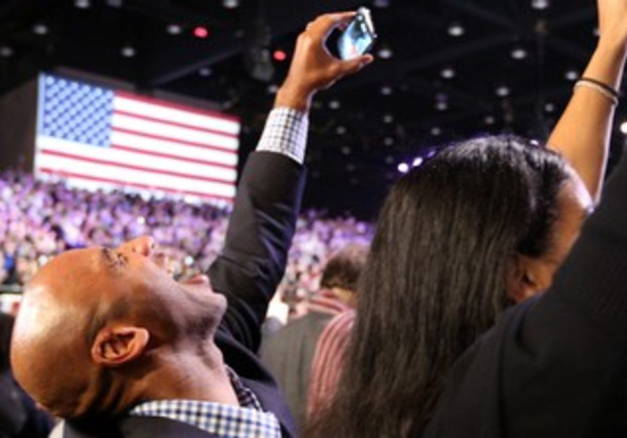Obama supporters celebrate victory news