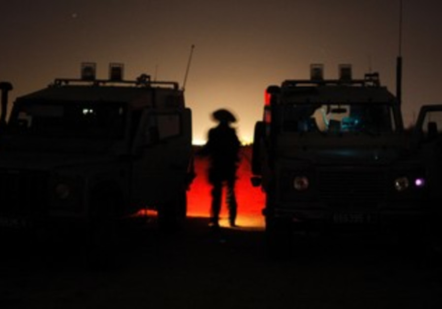 Israeli soldiers during patrol outside Gaza Strip