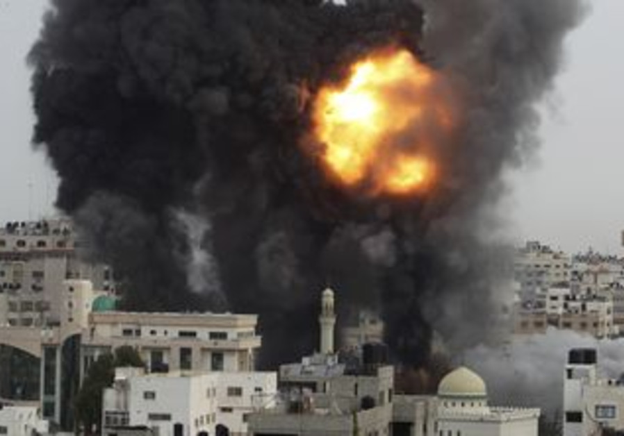 An Israeli air strike in the Gaza Strip