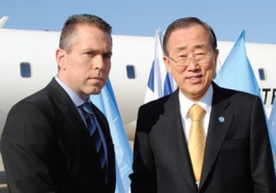 Gilad Erdan welcomes Ban Ki-moon to Israel