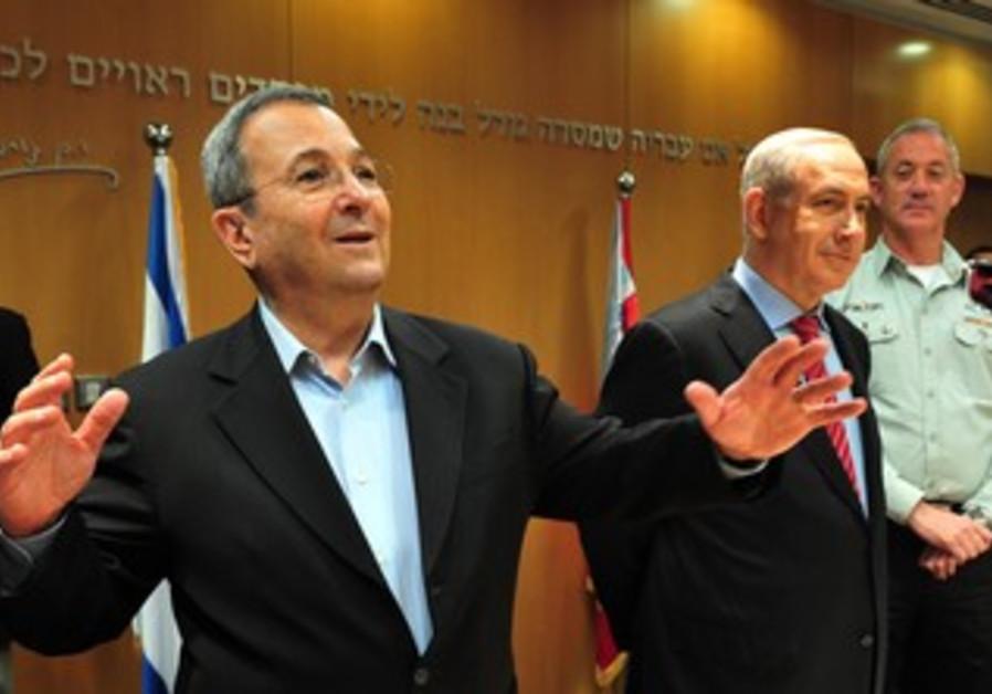 Ehud Barak with Benny Gantz, Binyamin Netanyahu