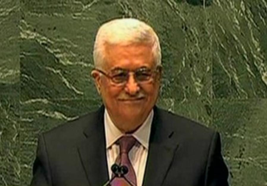 PA President Mahmoud Abbas at the UN.