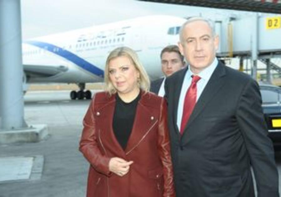 PM Netanyahu, wife Sarah depart from B-G Airport