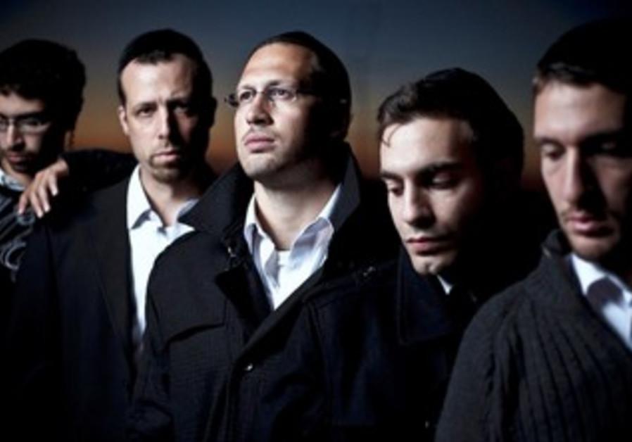 The men of the haredi hip hop band Shtar.