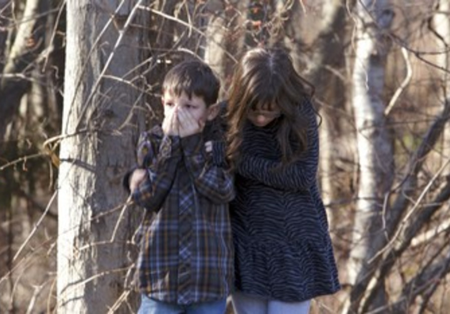 Shocked kids after Connecticut school shooting.