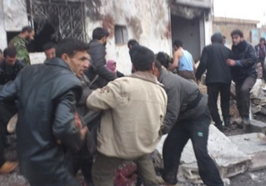 The scene of a bombing on bakery in Syria