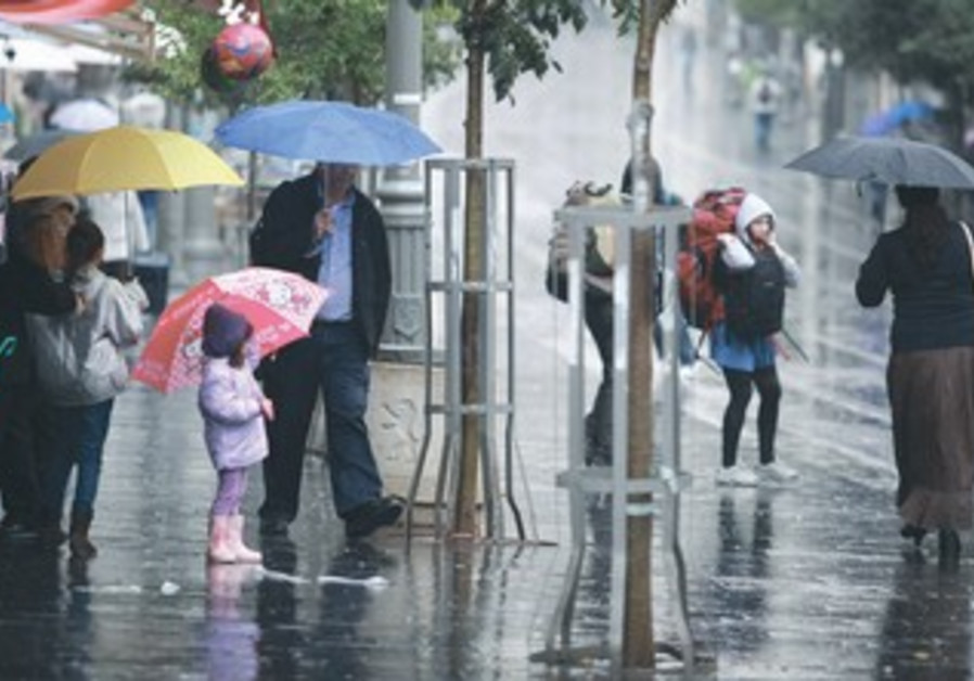 Pedestrians in rain