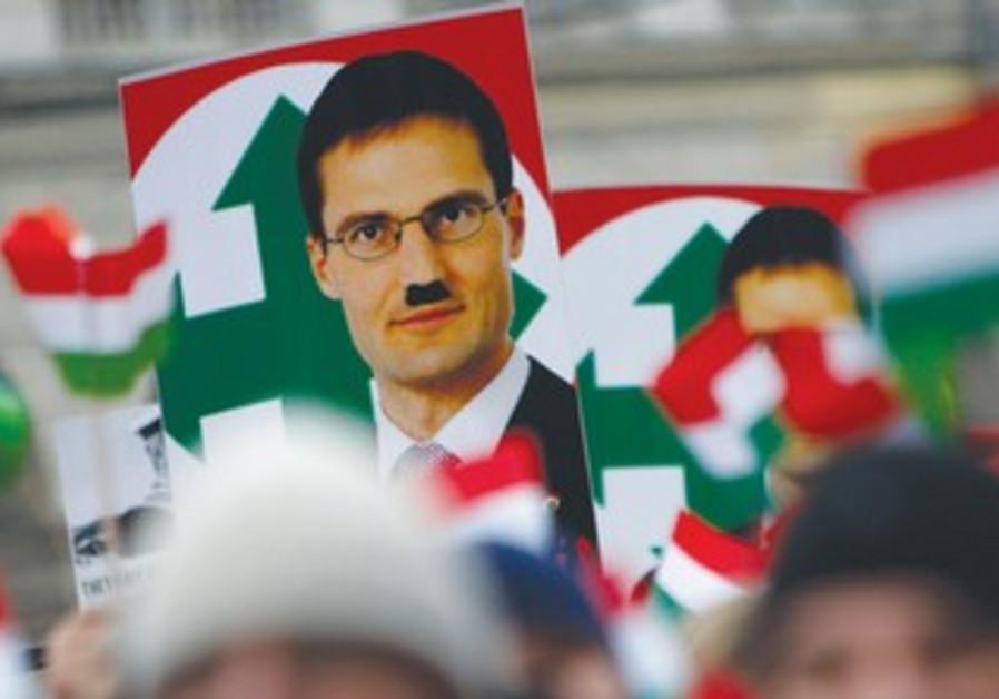 Defaced placard of Jobbik Party leader Gyongyosi