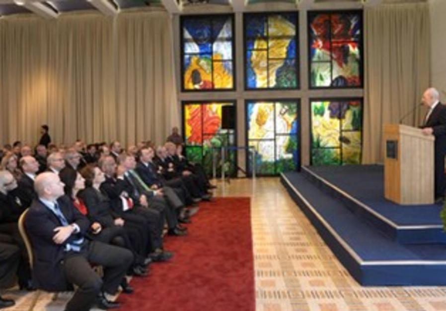 President Peres addresses ambassadors