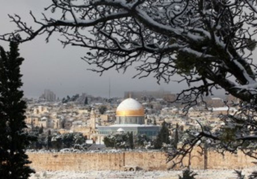 Snow-covered Dome of the Rock