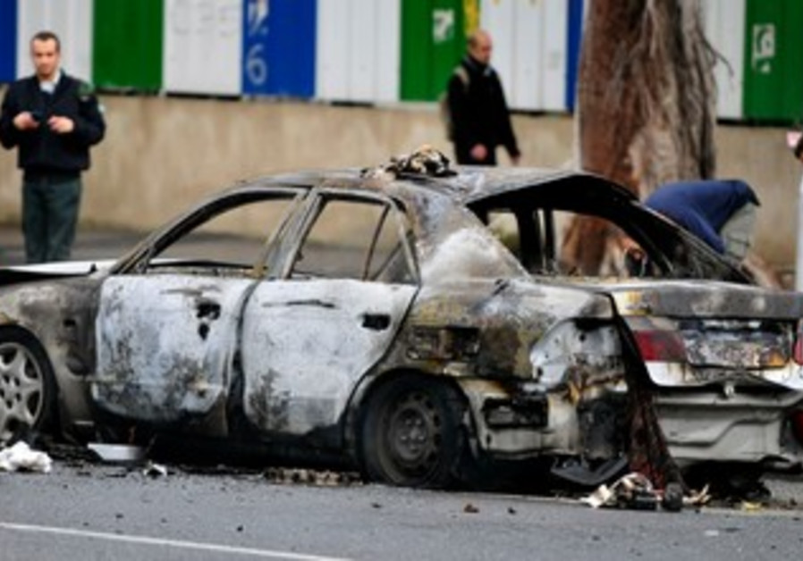 Car that exploded in Tel Aviv, January 10, 2013.