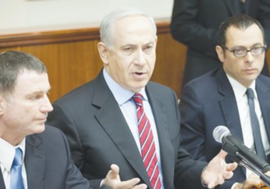 Prime Minister Binyamin Netanyahu at the weekly cabinet meeting, January 27, 2013.