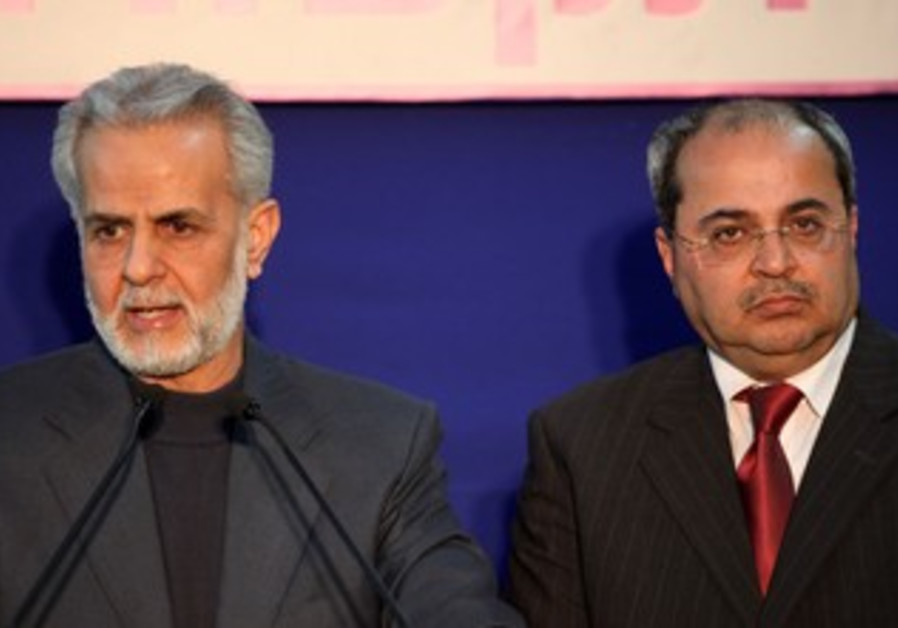 Ibrahim Sarsur and Ahmed Tibi at the President's resident, January 31, 2013.