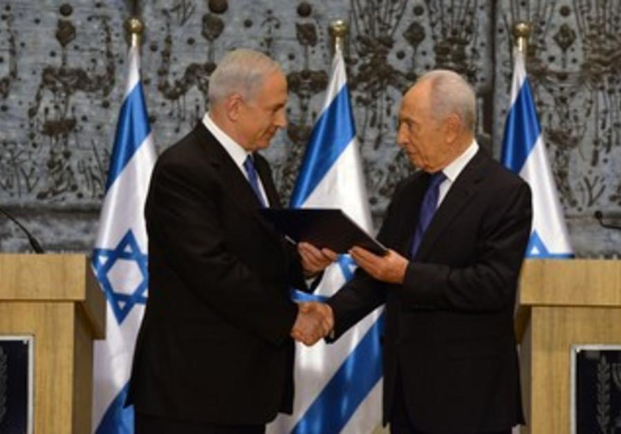 PM Binyamin Netanyahu accepts President Peres' invitation to form next government, February 2, 2013.