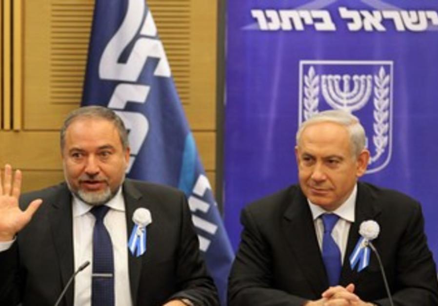 Liberman and Netanyahu at Likud Beytenu faction meeting, Feb 5 2013