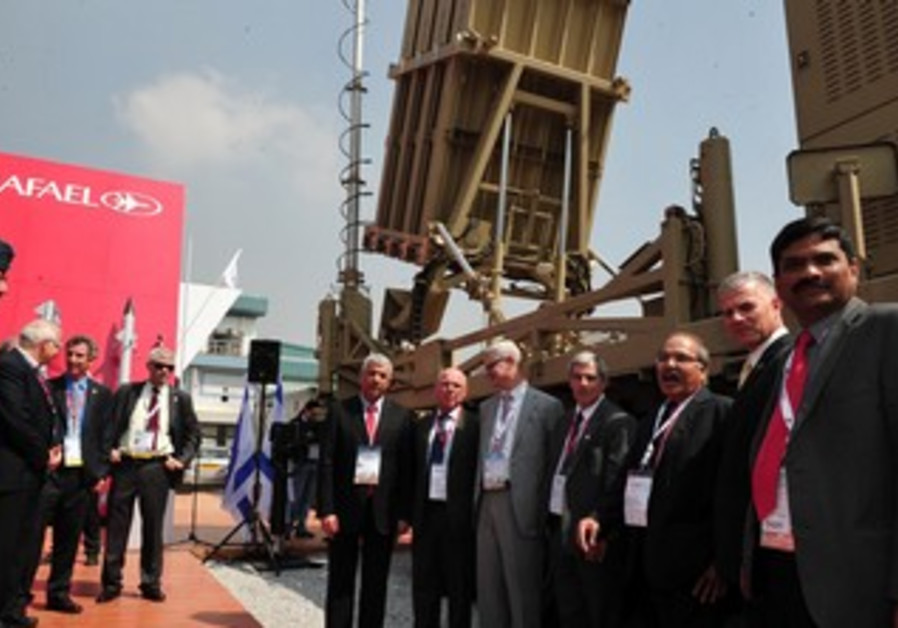 Iron Dome battery showcased in India.