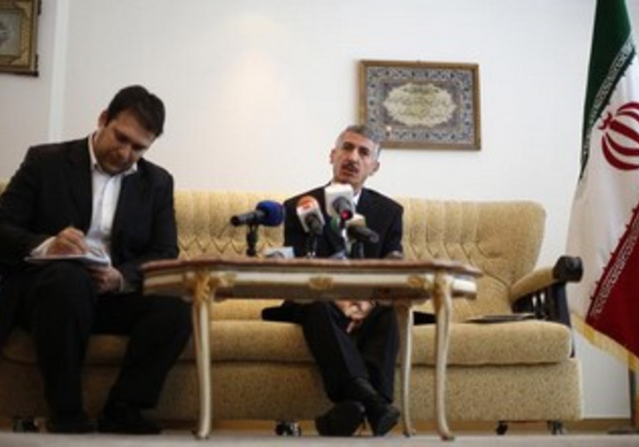 Iranian ambassador to Bulgaria Gholamreza Bageri speaks to reporters  in Sofia February 8, 2013