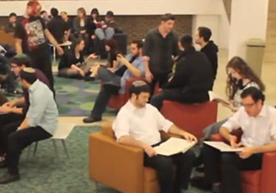 A screen shot of the Yeshiva University's Harlem Shake