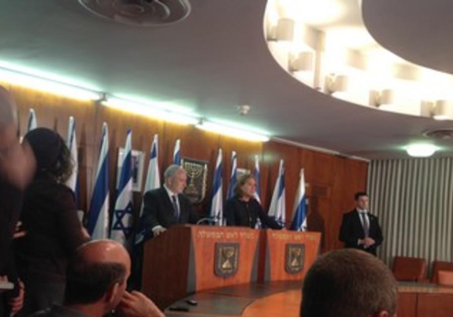 Netanyahu, Livni at press conference Feb. 19, 2013