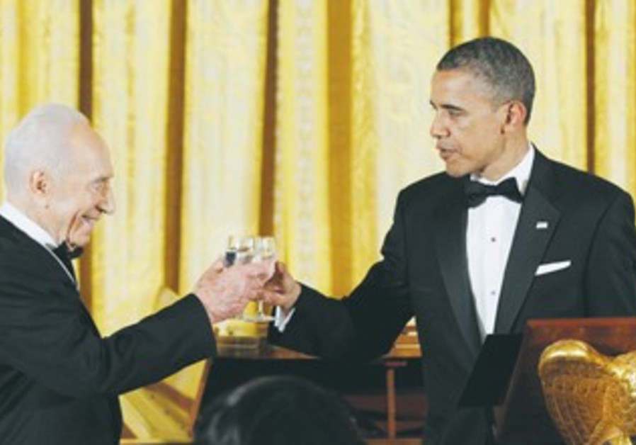 Peres, Obama celebrate his new role as opposition leader