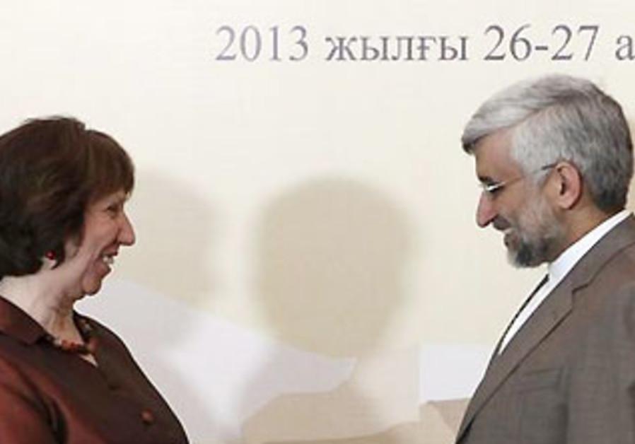 Catherine Ashton and Iranian nuclear negotiator Saeed Jalali at talks in Khazakstan, Feb 26, 2013.