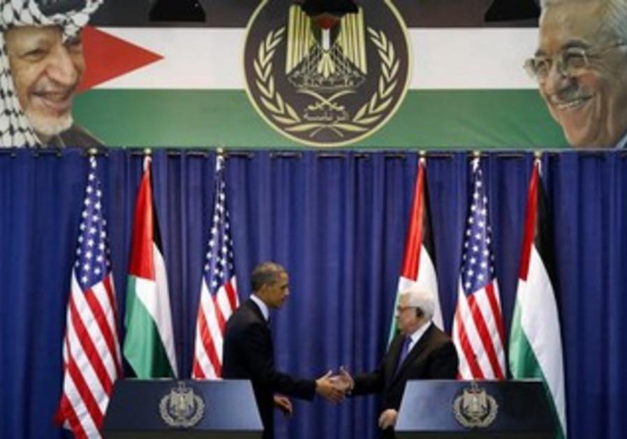 PA President Mahmoud Abbas and US President Barack Obama