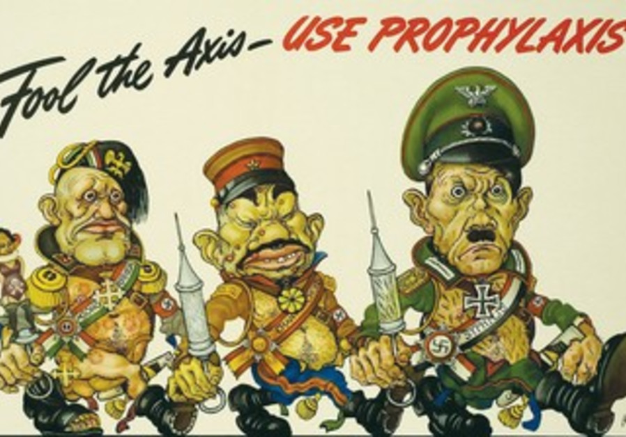 ARTHUR SZYK political cartoon from 1940s featuring caricatures of  Mussolini, Hideki Tojo and Hitler