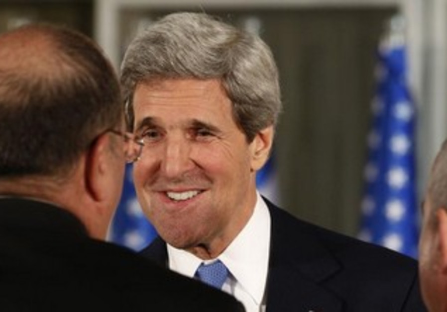 US Secretary of State John Kerry shakes hands with Netanyahu, March 20, 2013.