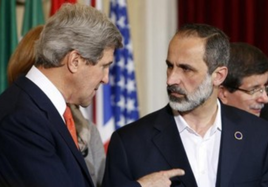 Former Syrian National Coalition President Moaz Alkhatib and US Secretary of State John Kerry.
