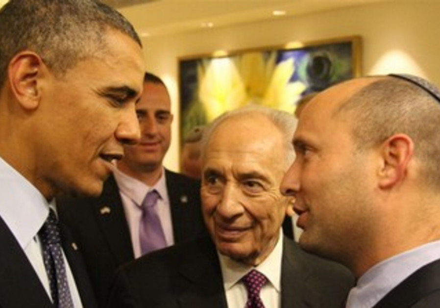 Economic and Trade Minister Naftali Bennett meeting US President Barack Obama, March 2013.