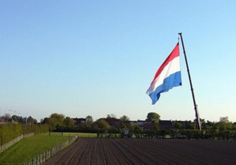 Dutch flag on a crane