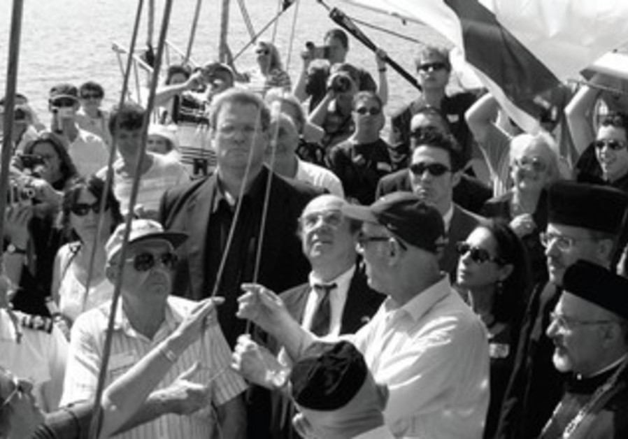 RELATIVES OF those who died aboard the 'Struma' gather in 2000 to mark the tragedy.