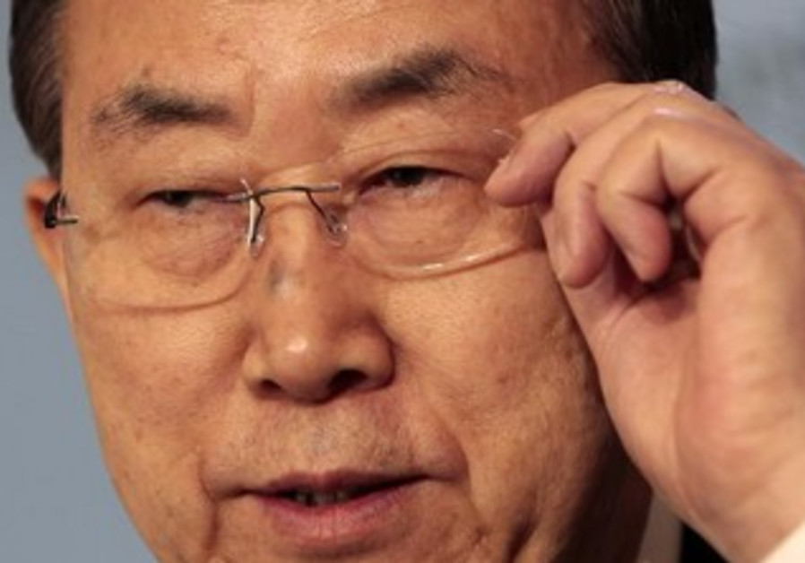 United Nations Secretary-General Ban Ki-moon during a news conference in Andorra April 2, 2013.