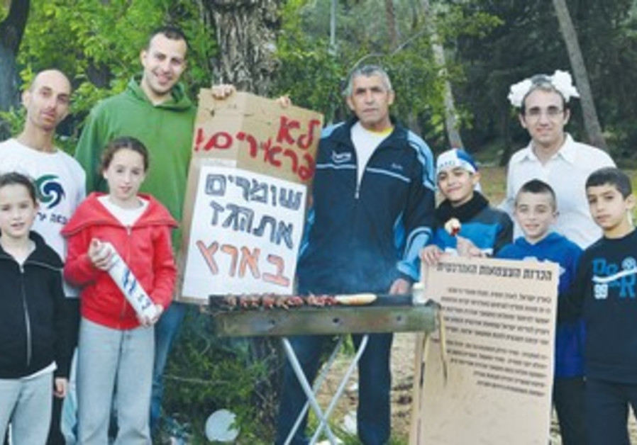 MEMBERS OF Green Course gather in Jerusalem's Sacher Park
