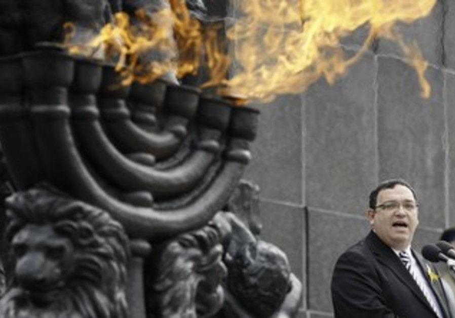 Shai Piron at a ceremony commemorating the 70th anniversary of the Warsaw Ghetto, April 19, 2013.
